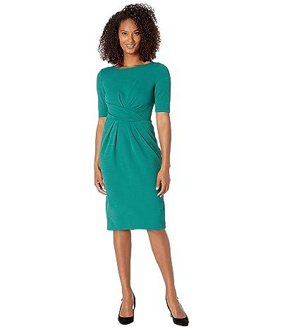 Adrianna Papell Rio Knit Draped Sheath Dress (Evergreen) Women