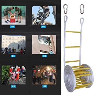 Chengstore Escape Ladder Rope, Rope Ladder, Outdoor Wooden Nylon Rope Ladder with 2 Buckles, Emergency Fire Escape Ladders...