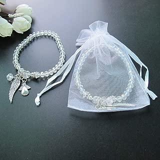 Baptism Favor (12PCS) Crystal Angel Bracelet Christening Recuerdos para Bautizo with Organaz Gift Bag
