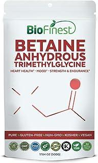 Biofinest Betaine Anhydrous Trimethylglycine (TMG) Powder 1500mg - Pure Gluten-Free Non-GMO Kosher Vegan Friendly - Supplement for Heart Health, Mood Support, Strength, Endurance, Energy (500g)
