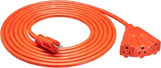 Amazon Basics 15-Foot 3-Prong Vinyl Indoor/Outdoor Extension Cord with 3 Outlets - 15 Amps, 1875 Watts, 125 VAC, Orange
