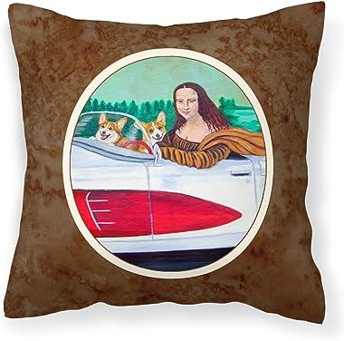 Caroline's Treasures 7284PW1414 Mona Lisa with Corgi Fabric Decorative Pillow, 14Hx14W, Multicolor