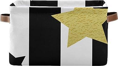ALALAL Panier de Rangement rectangulaire pour étagère Noir Blanc et Or étoiles boîte de Rangement sans Couture avec poigné...