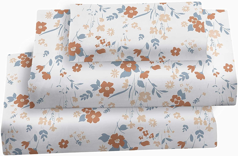 Softan Queen Bed Sheet Set, 4 PC Orange Floral Printed Brushed Microfiber Elegant Bedding Set, 1 Flat Sheet,1 Deep Pocket Fitted Sheet, and 2 Pillow Cases, Breathable & Soft Feeling Sheets