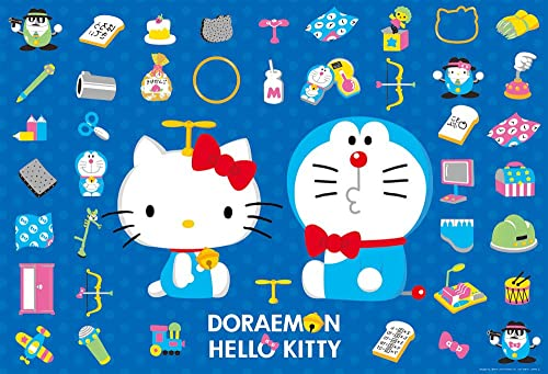 1000 piece jigsaw puzzle Doraemon × Hello Kitty Takekoputa (49x72cm)