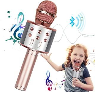 Wireless Bluetooth Karaoke Microphone Machine with Controllable LED Lights, 4 in 1 Portable Handheld Toy Karaoke Mic Player Speaker Birthday Home KTV Party Outdoor for Android iOS Devices