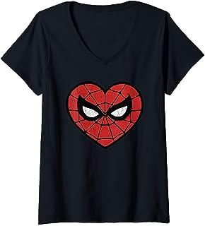 Womens Marvel Spider-Man Heart Shaped Mask Portrait V-Neck T-Shirt