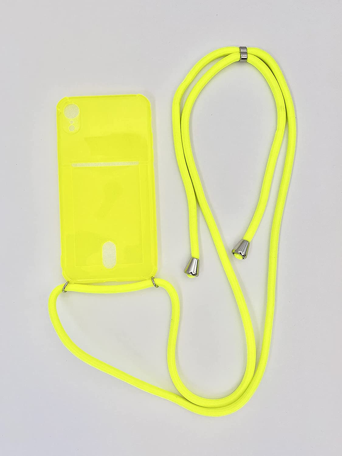 Crossbody Phone Case with Card Holder -TPU Protector Designed for iPhone, Holds 2 Cards - Hanging Smartphone with Shoulder/Neck Strap-Y2K - Yellow (iPhone 11 Pro, Electric Yellow)