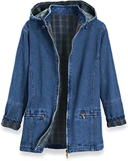 PGI Traders Women's Flannel Lined Denim Jacket | Detachable Hood | Zip Front and Side Pockets | 100% Cotton