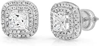 2.99 ct Brilliant Princess Round Cut Double Halo Solitaire White Lab Created VVS1 Ideal Sapphire & Simulated Diamond Anniversary gift Solitaire Stud Screw Back Earrings Real Solid 14k White Gold