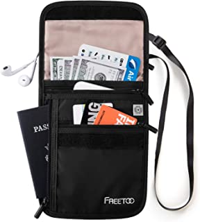 FREETOO Travel Neck Wallet Neck Pouch with RFID Blocking, Passport Holder Family Anti-Theft Hidden Passport Wallet for Men Women to Keep Your Passport and Credit Card Safe