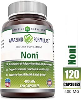 Amazing Nutrition Noni - 400mg Capsules - 120 Capsules Per Bottle - Made from Tahitian Noni Fruit from The Morinda Citrifolia Plant