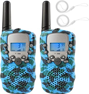 Zwish Kids Walkie Talkies Toys 2 Pack 22 Channels 2 Way Radio with Flashlight and LCD Screen 3 Miles Range for Boys Girls Outside Adventures, Camping, Hiking(Blue Camo)