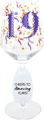 Pavilion Gift Company 24442 19 Finally Calling The Shots-17oz Bejeweled 19th Birthday Stemmed Wine Glass, 17oz, Purple