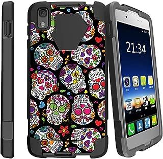 MINITURTLE Compatible with Alcatel Idol 4, Alcatel Nitro 49 Kickstand Dual Layer Black Case - Girly Sugar Skulls