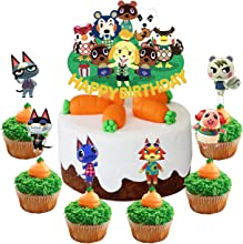 Set of Acrylic Animal Crossing Happy Birthday Cake Topper, Animal Crossing Cake Topper, Animal Crossing Party Decoration Supplies, Gamer Party Favor ( 7Pcs )