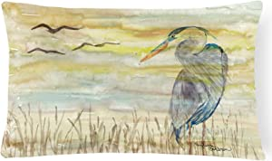 Caroline's Treasures SC2020PW1216 Blue Heron Yellow Sky Canvas Fabric Decorative Pillow, 12H x16W, Multicolor