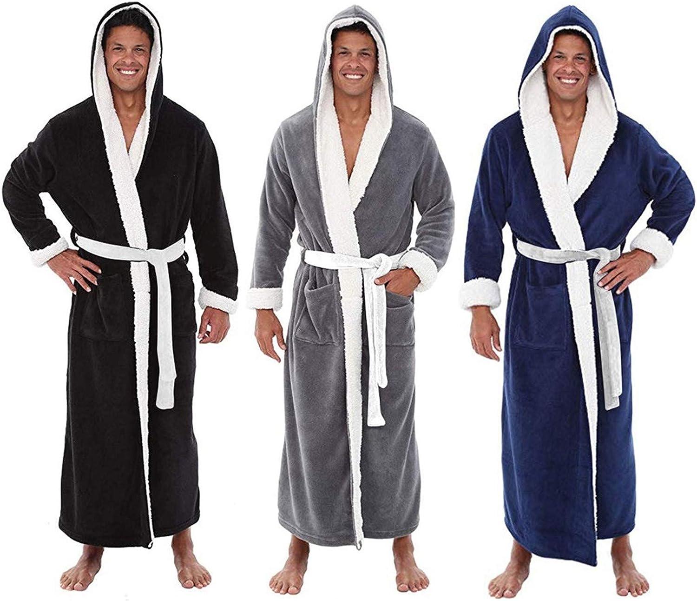 Winter Clearance Men's Winter Plush Spa Bathrobe Plus Size Full Length Thicken Shawl Kimono Bath Robe Sleepwear S-5XL