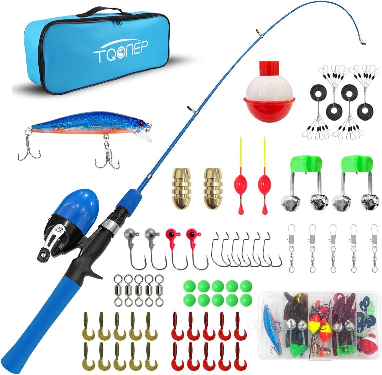 TQONEP trend rank Kids Fishing Pole with Reel f Tackle Finally popular brand Spincast Box