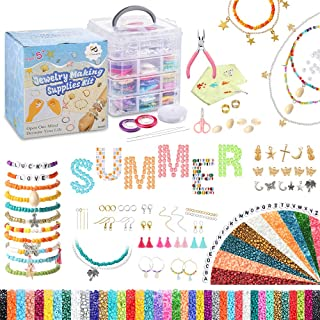 PP OPOUNT Beads for Bracelets Jewelry Making Kit Includes 31100PCS 4mm, 3mm, 2mm Glass Seed Beads, Letter Beads and Charms...