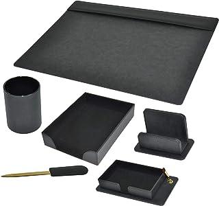 FIS 6 Pieces Executive Desk Set Italian PU, Black Color - FSDS181BK