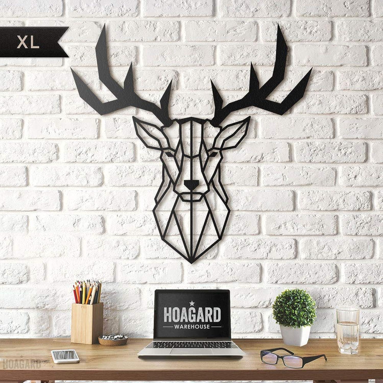 Deer Head XL Metal Wall Art by Hoagard  Hirschkopf XL Metall Wandkunst von Hoagard  75 cm x 80 cm  Geometrische Metallwandkunst, Wanddekoration