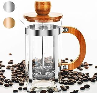 Vintage French Press Coffee Tea Maker Bamboo Wooden Single Serve Coffee Maker Glass Pot Steel Micro