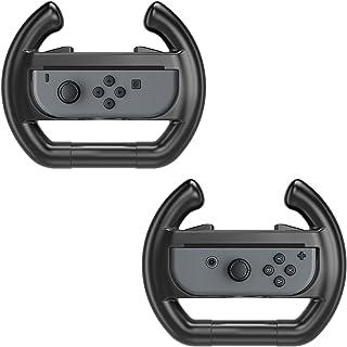 MoKo Steering Wheel Compatible with Switch/Switch OLED Model (2021), [2 Pack] Switch Steering Wheel Controller Handle Comp...