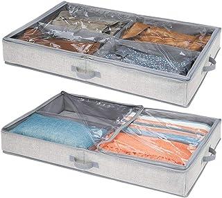 mDesign housse de dessous de lit pour vêtements & chaussures – sac de rangement avec 4 sections de rangement – accessoire ...