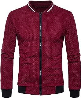 Men's Plaid Cardigan Zipper Long Sleeve Sweatshirt Tops Jacket Coat Outwear