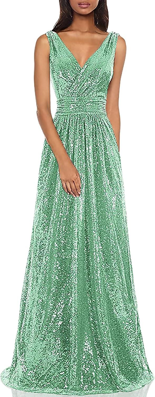 Kate Kasin Women Sequin Bridesmaid Evening Recommendation Sleeveless Maxi Popular standard Dress