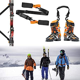 Cross Country Skis Men Package Ski Strap and Ski Boot Strap, Ski Poles Men Strap, Ski Harness for Kids Cross Country Skis Package, Snowboard Leash and Ski Carrier Strap (Orange Black)