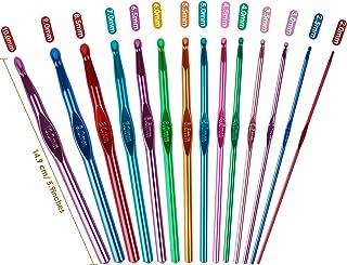 Aiguilles à Crochet Set Crochet Hook Set, 14 PCS Multicouleur Poignée En Aluminium Crochet -Débutants et Professionnels(2-...