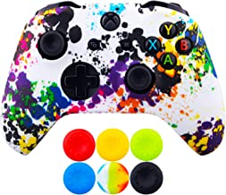 9CDeer 1 Piece of SiliconeTransfer Print Protective Cover Skin + 6 Thumb Grips for Xbox One/S/X Controller Graffiti
