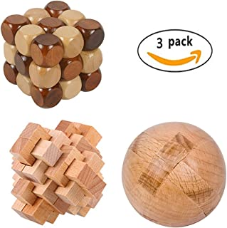 CiCy 3 Pcs 3D Wooden Cube Brain Teaser Puzzle, Puzzles Magic Balls, Snake Cube Wooden Brain Teaser Puzzle, 24 Unlock Interlocking Brain Teaser Puzzle, Children Kids Educational Toy