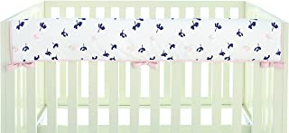 Ivanka Trump Wildflower Collection: Crib Teething Guard Reversible Rail Guard in White Pink and Navy Flower Pattern