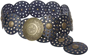 """3 1/2"""" (90 mm) Wide Ladies Wide Boho Disc Concho Leather Belt"""