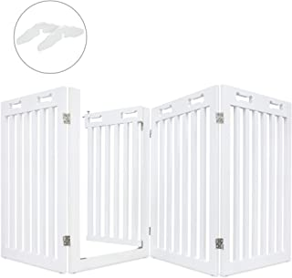 "Arf Pets Freestanding Dog Gate with Walk Through Door, 4 Pannel, Expands Up to 80"" Wide, 31.5"" High - Bonus Set of Foot Supporters Included - White, for Indoor Use Only"