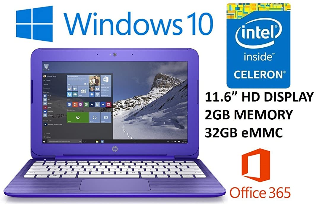 HP Stream 11.6-inch Laptop PC (2016 Model) with 1 Year Office 365 Personal, Intel Celeron N3050 1.6GHz, 2GB DDR3L RAM, 32GB SSD, Bluetooth, Wifi, Windows 10 (Purple) sm5574150