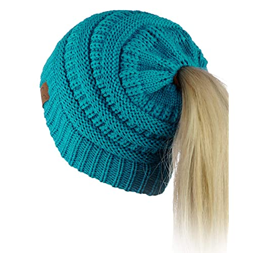 0aa0411eb7 C.C BeanieTail Soft Stretch Cable Knit Messy High Bun Ponytail Beanie Hat