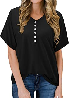 Sponsored Ad - KILIG Women's Button Casual Tops Short Sleeve V-Neck T Shirts Loose Henley Blouse