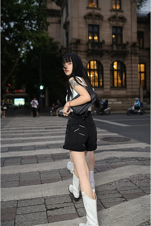 BXSM High Waist Denim Shorts Crimped Wide Leg A-line Shorts (Color : Black, Size : Small)