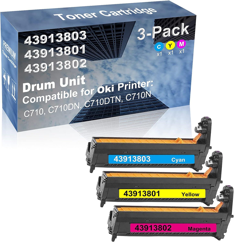 3-Pack (C+Y+M) Compatible High Capacity 43913803+ 43913801+ 43913802 Drum Unit Used for Oki C710, C710DN, C710DTN, C710N Printer