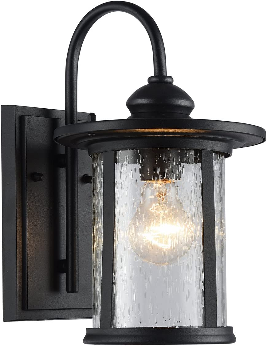 Edvivi 1 Light Black Outdoor Wall Lantern Textured Black Medium