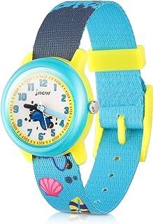 JIAN YA NA Kids Watches Cute Cartoon Waterproof Nylon Fabric Strap Children Toddler Wrist Watch Time Teacher Birthday Xmas 3-10 Year Boys Girls (Beach)