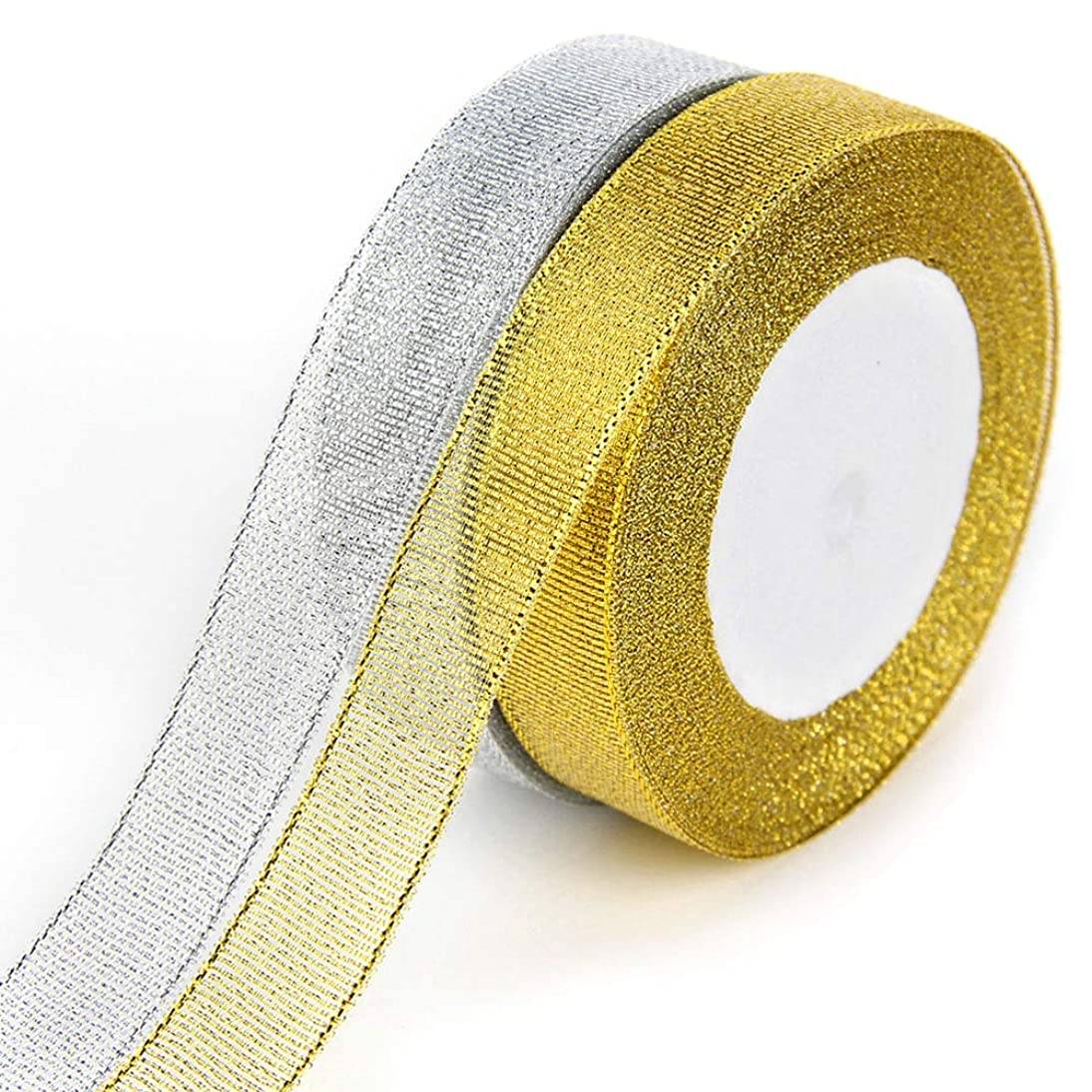 Gift Wrap Ribbons Organza Ribbons Glitter Trimmings Decorative Ribbons 2 Rolls- 24 Yard- 0.78 Inch Wide for Arts Crafts and Gift Wrapping (Gold & Silver) dyhb416427485021