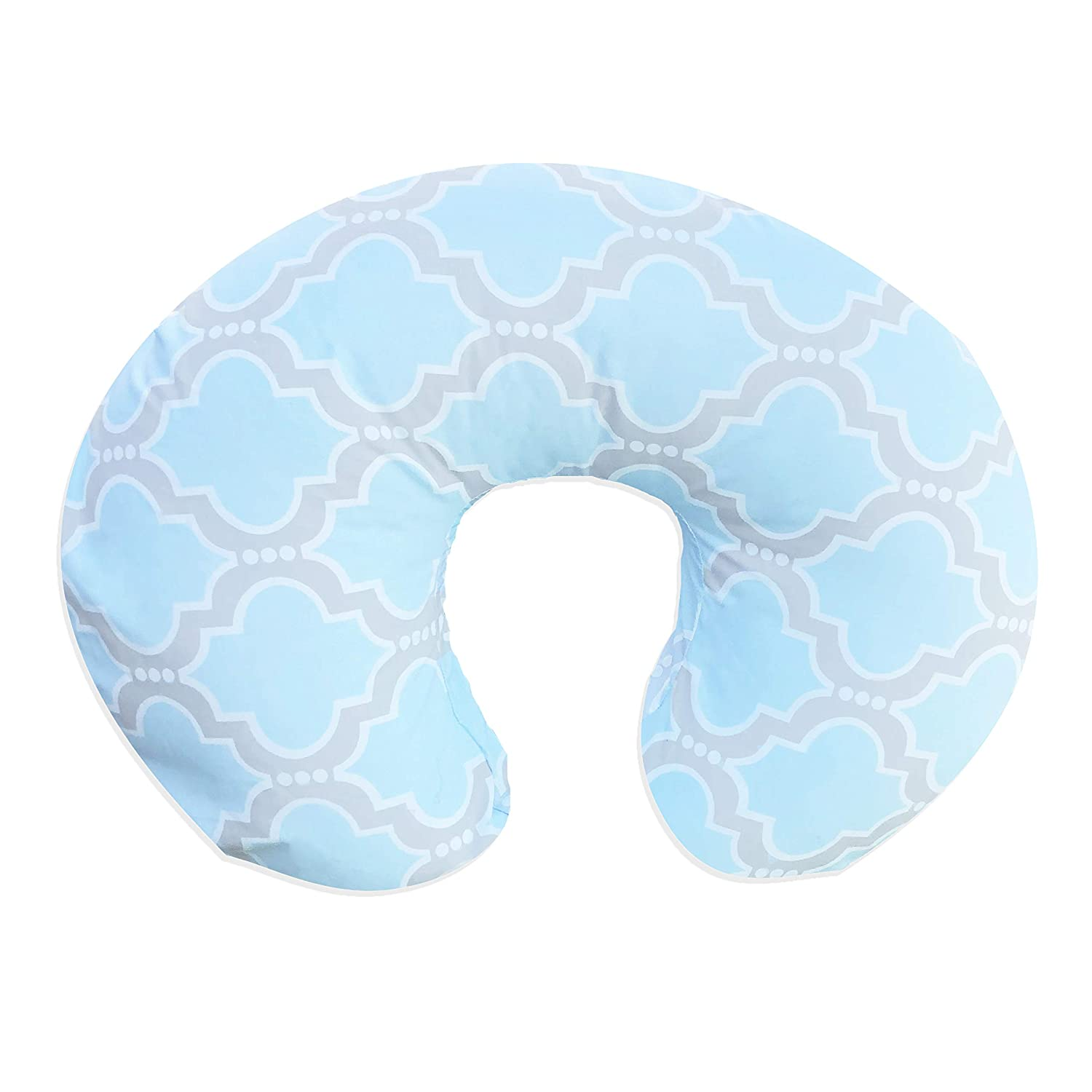 Pam Grace Creations Blue Medallion Boppy Cover, Baby Blue/Grey