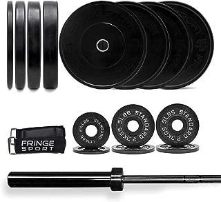 300lb Garage Gym Package/Bar & Bumper Plates Set (45lb Olympic Barbell + 255lb Weights Set + Bar Collars) / 2.5/5/5lb Iron Plate Pairs + 10/25/35/45lb Bumper Plates/Weightlifting, Strength, Cross