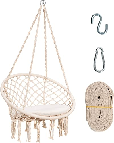 high quality Giantex Macrame Hammock Chair, Swing Chair w/Soft Cushion, Hanging Hardware Kit & 9.5ft Hammock Strap, Fringe Tassels, Cotton Rope Swing Chair 300LBS Capacity, outlet online sale sale Macrame Tassels Hammock Swing (Beige) online
