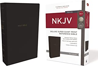 NKJV, Deluxe Reference Bible, Super Giant Print, Leathersoft, Black, Red Letter Edition, Comfort Print: Holy Bible, New King James Version
